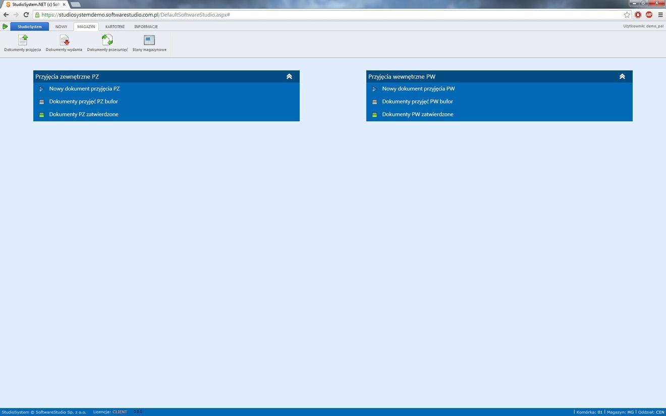 program palety menu dokumentów przyjęć