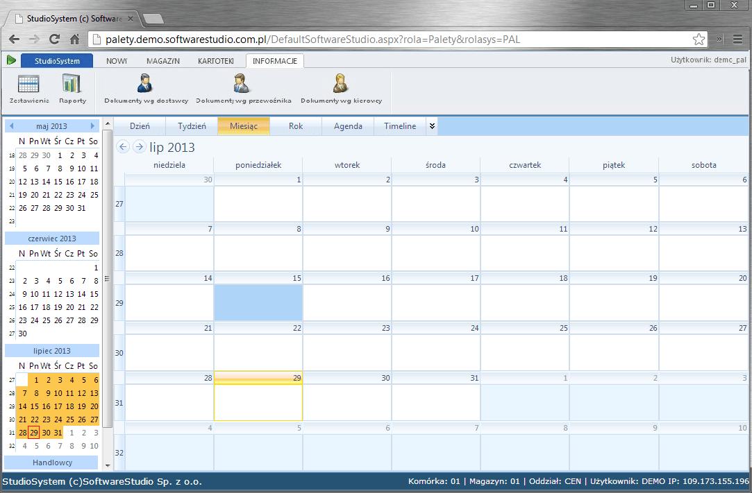program palety kalendarz